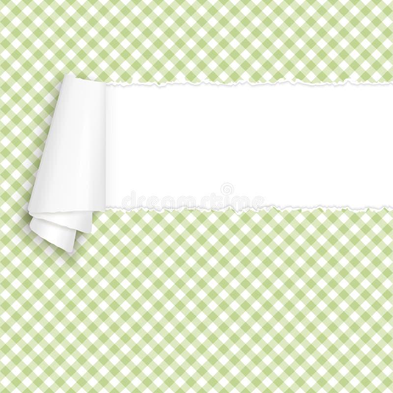 Сорванный открытый бумажный checkered зеленый цвет бесплатная иллюстрация
