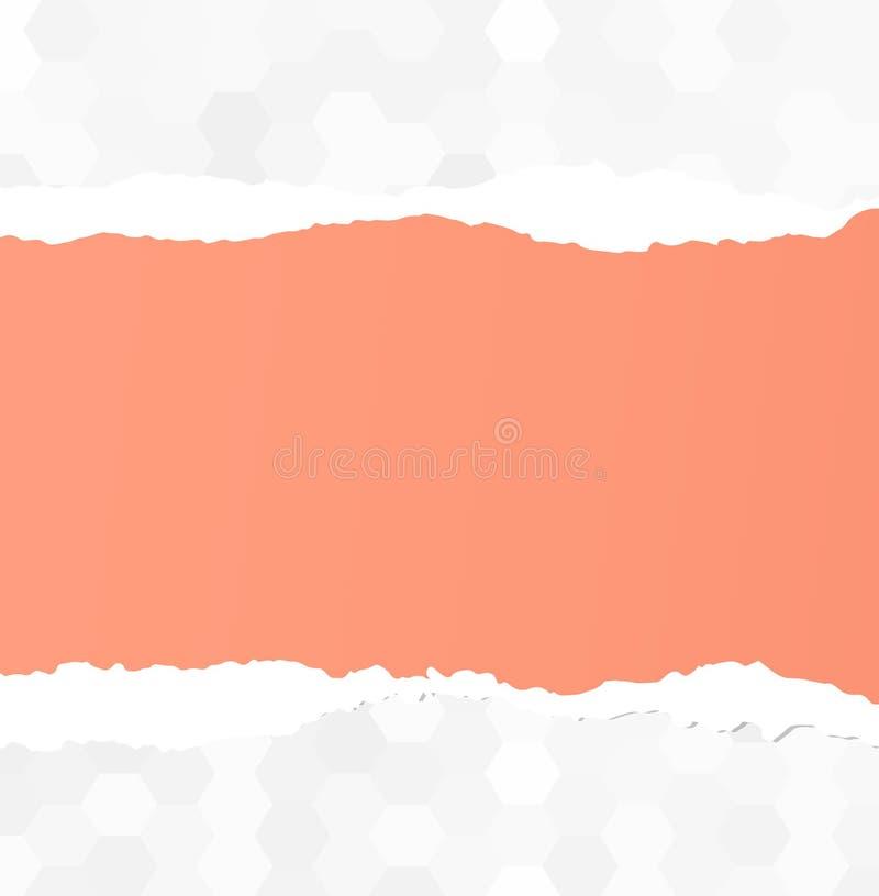 Сорванный розовый чистый лист бумаги вставлен на серой картине бесплатная иллюстрация
