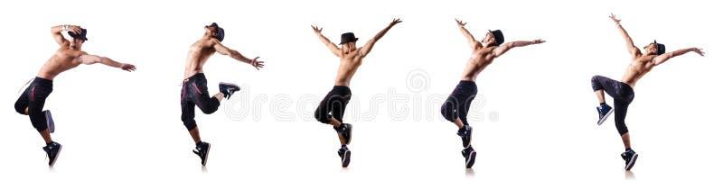 Сорванный танцор изолированный на белизне стоковое изображение