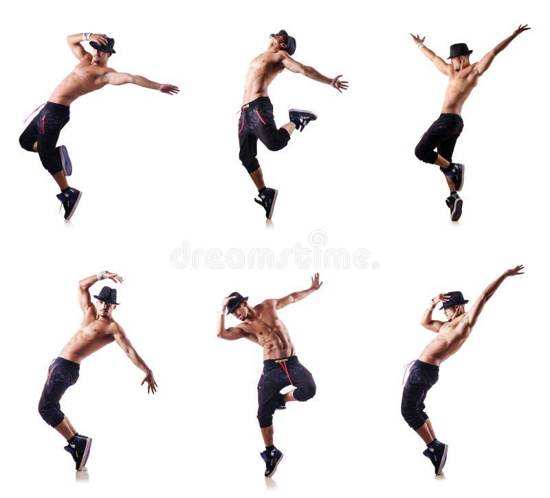 Сорванный танцор изолированный на белизне стоковые изображения rf