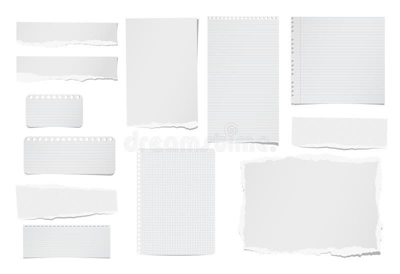 Сорванный управляемое и пустое примечание, тетрадь, бумажные прокладки, листы для tex или сообщение вставили на белой предпосылке бесплатная иллюстрация