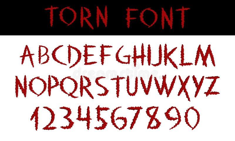 сорвано Написанная рукой каллиграфия шрифта дисплея красная ABC Поцарапанные декоративные покрашенные алфавит и номера вектора От иллюстрация вектора