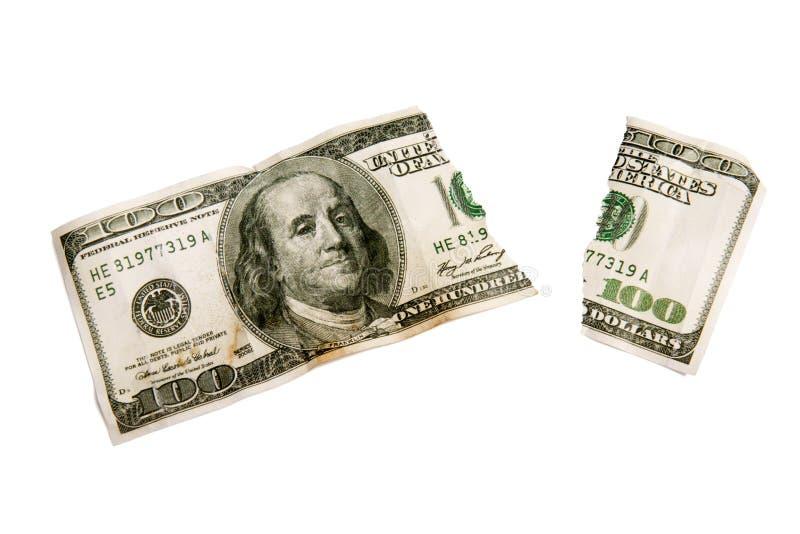 Сорвано несено вне 100 долларов Билл изолировал XXXL стоковое изображение rf