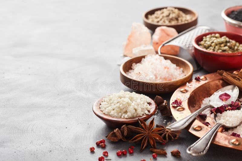 сортированная приправа с естественными солью и специями стоковые фото