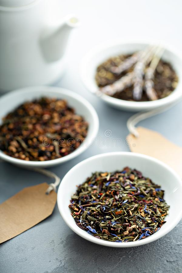 Сортированное разнообразие чаев свободных лист стоковые изображения rf