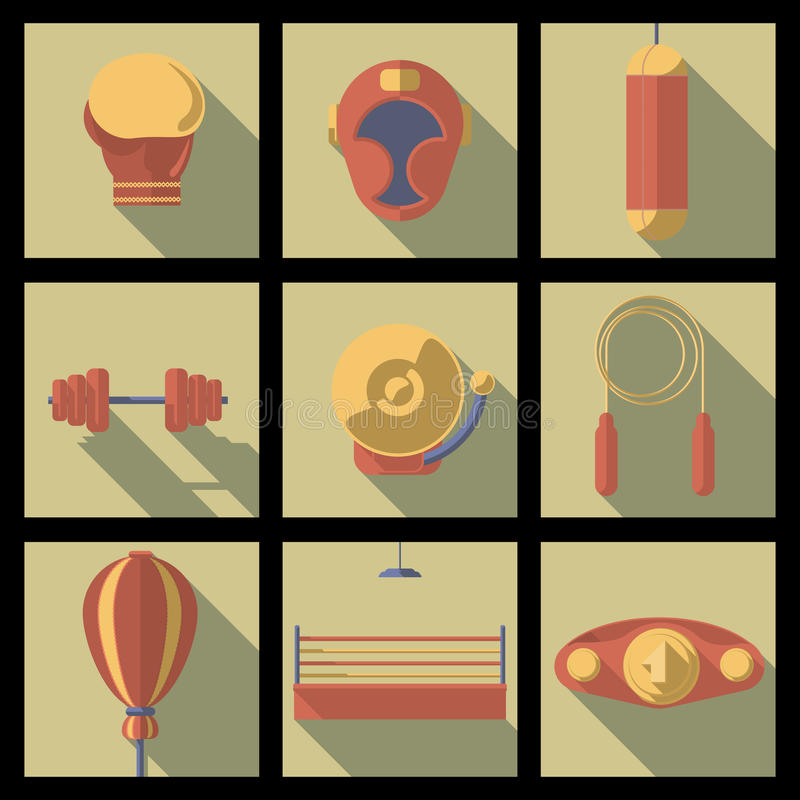 Сортированные значки фитнеса Cartooned иллюстрация вектора