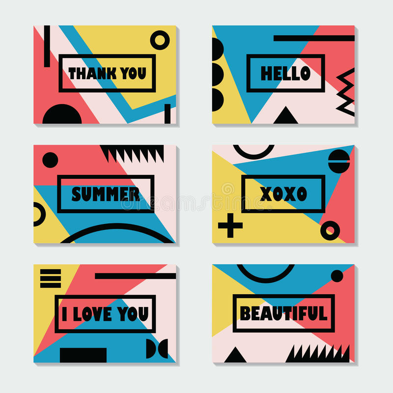 Сортированные красочные современные шаблоны карточек установили с черными сообщениями и символами бесплатная иллюстрация