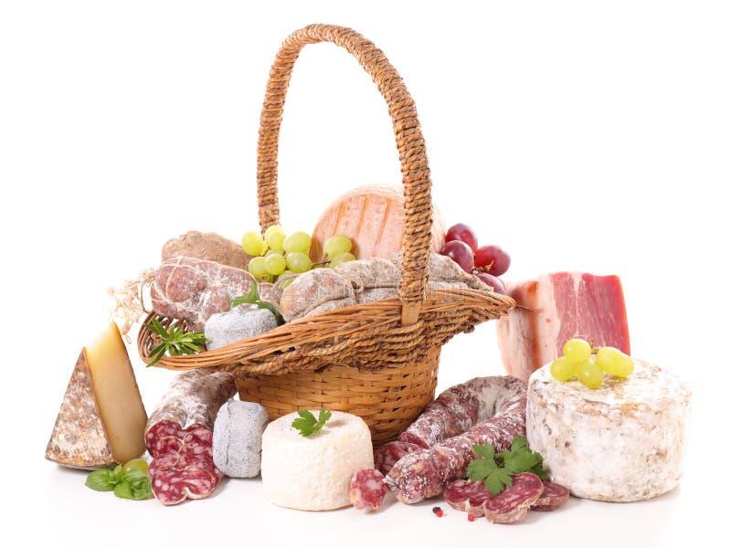 Сортированные мясо и сыр стоковые фото