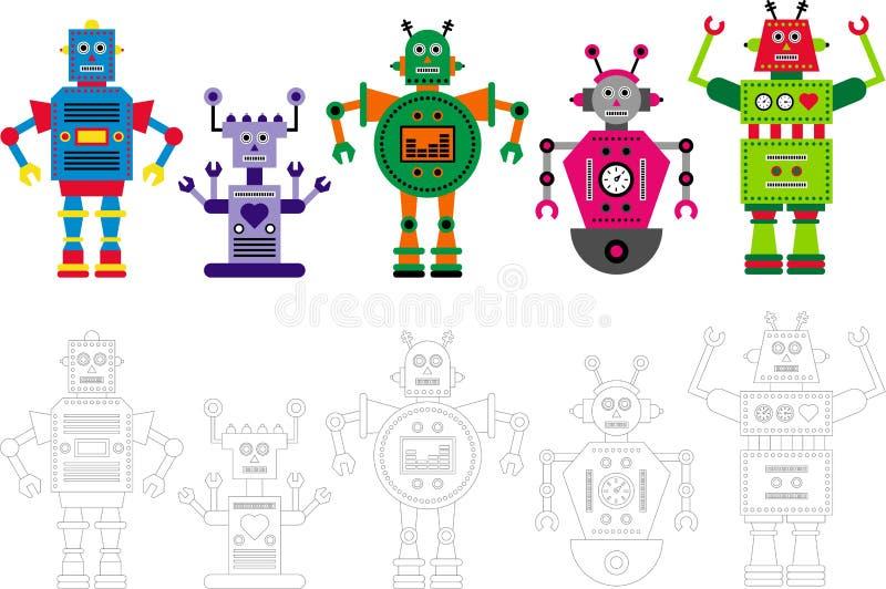 Сортированные цветастые характеры робота иллюстрация штока