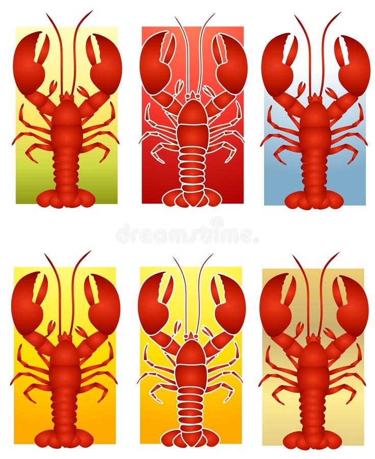 сортированный искусством красный цвет омара зажима иллюстрация вектора