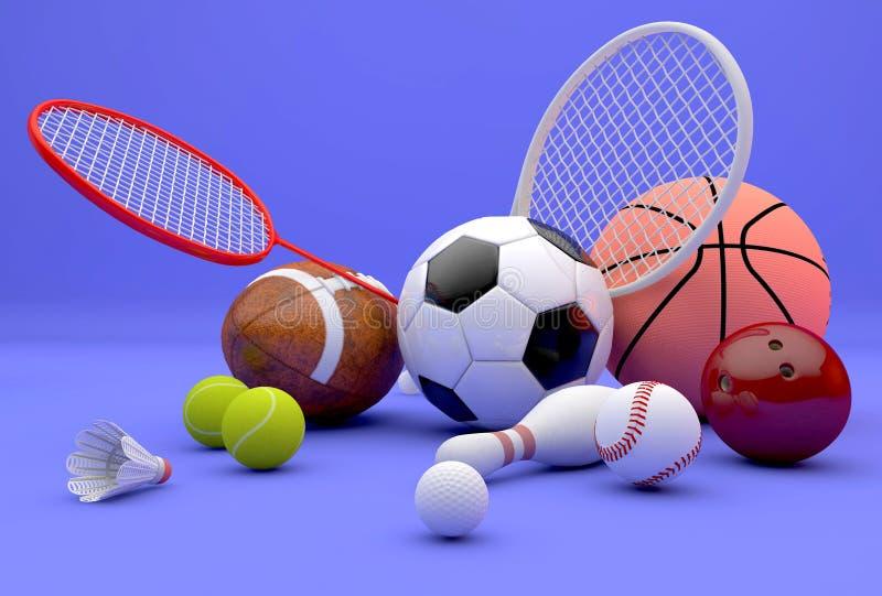 Сортированный спортивный инвентарь иллюстрация вектора