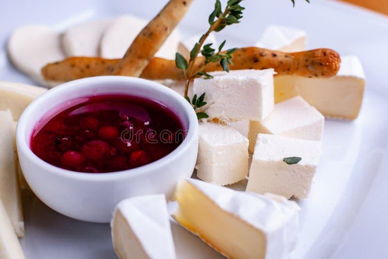 Сортированный сыр с соусом клюквы, выборочным фокусом стоковая фотография