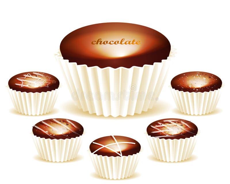 Сортировано вкусных трюфелей шоколада иллюстрация штока
