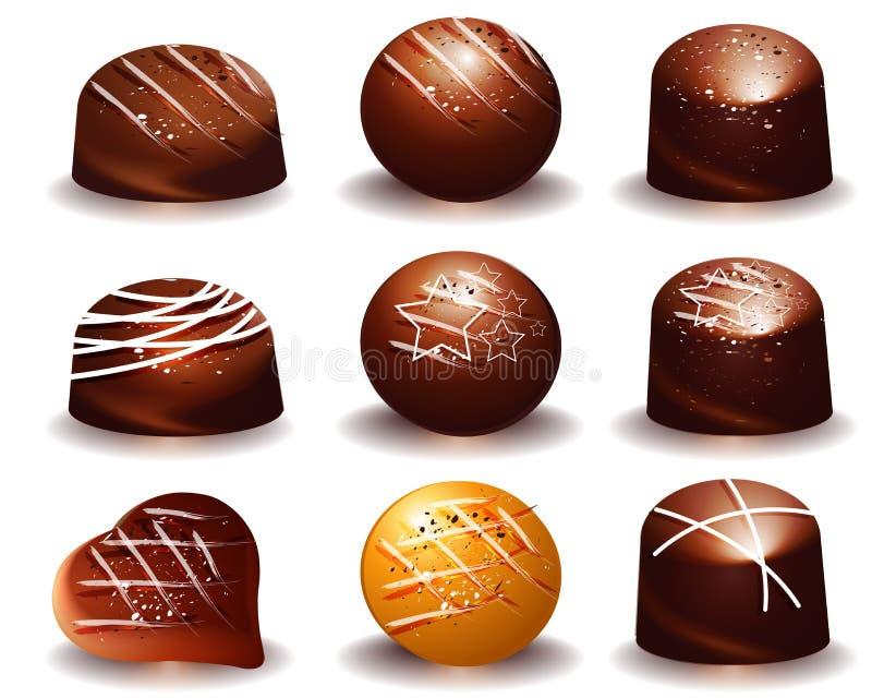 Сортировано вкусных трюфелей шоколада бесплатная иллюстрация