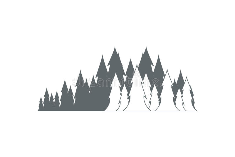 сосенка ландшафта пущи иллюстрация вектора