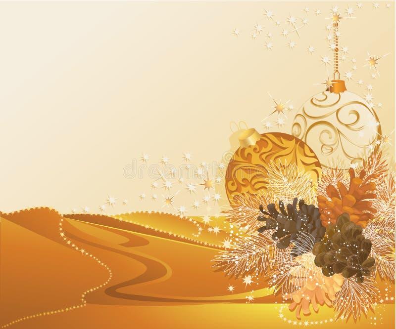 сосенка золота конусов рождества бесплатная иллюстрация