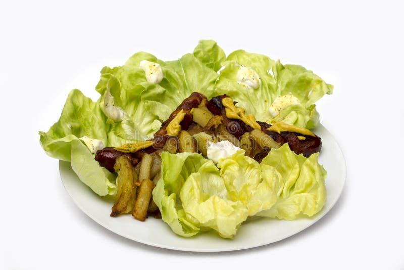 Сосиска, салат и фраи стоковые фото