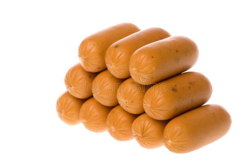 сосиски изолированные цыпленком стоковая фотография