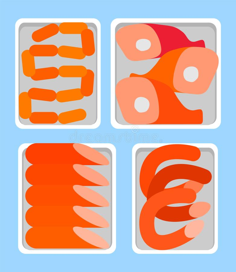 Сосиски и копченый вектор мясника полок Bangers иллюстрация штока