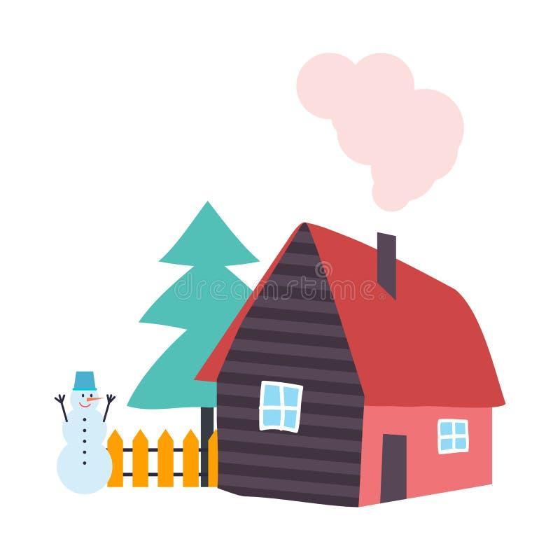 Сосна дерева растя деревянным вектором дома коттеджа бесплатная иллюстрация