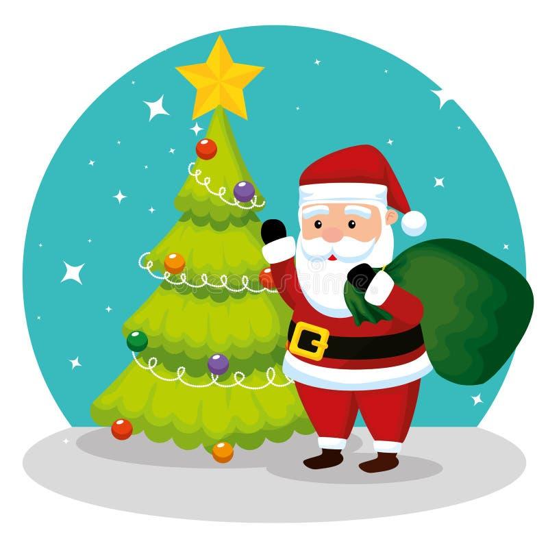 Сосна и Санта Клаус с сумкой иллюстрация вектора