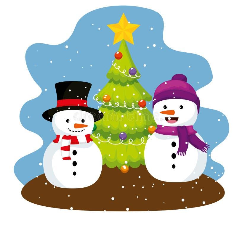 Сосна и снеговики со шляпой и шарфом иллюстрация вектора