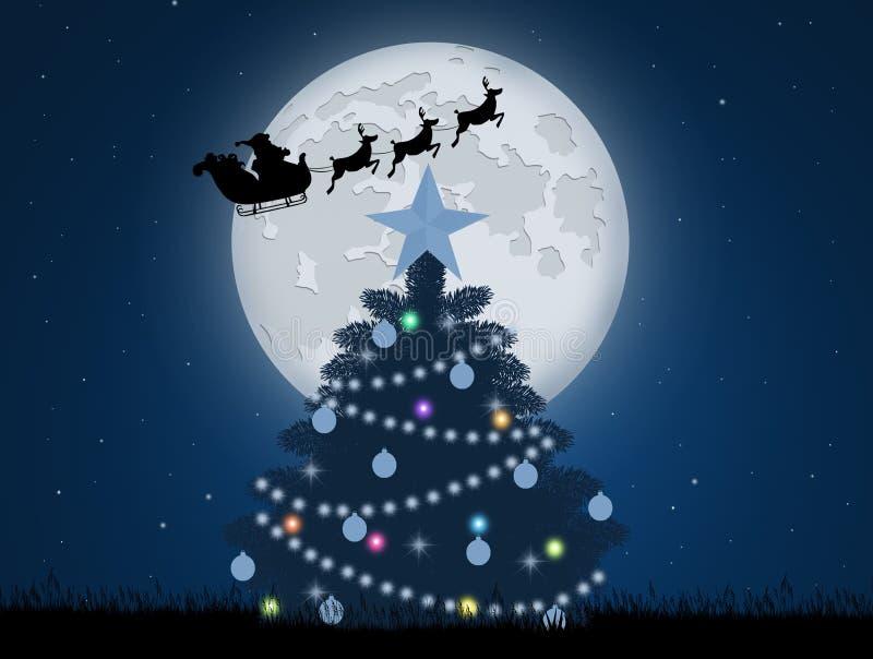 Сосна рождества и сани Санта Клауса бесплатная иллюстрация