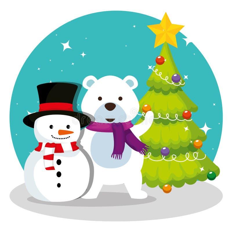 Сосна со снеговиком и медведем снега иллюстрация штока