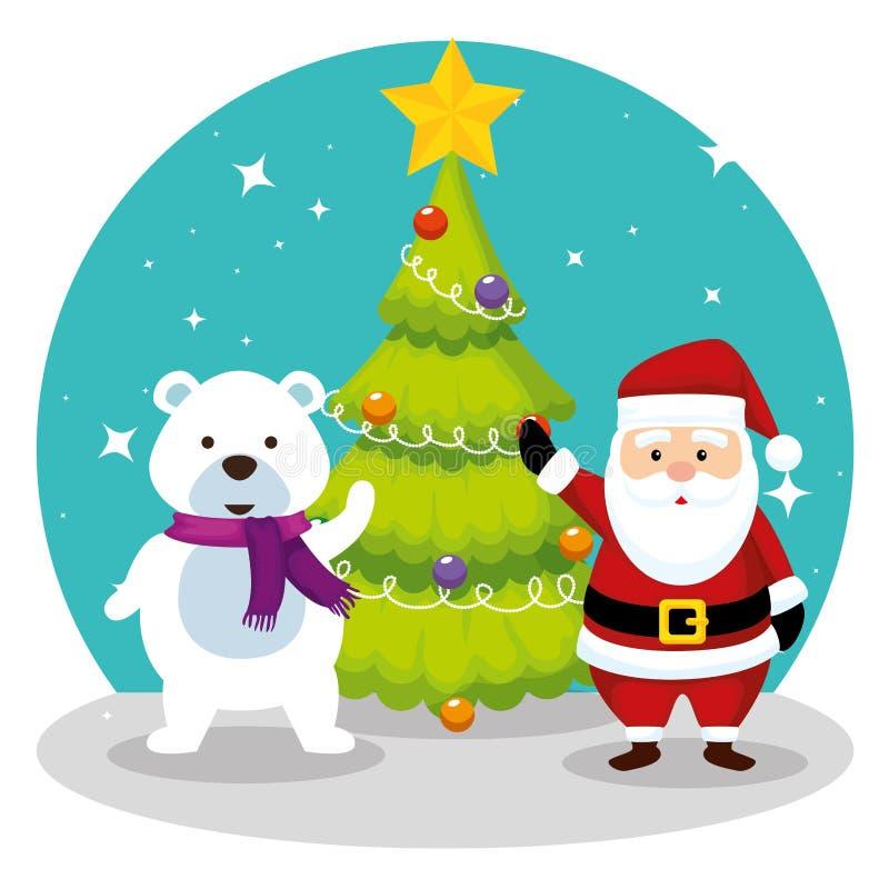 Сосна с Санта Клаусом и медведем снега бесплатная иллюстрация