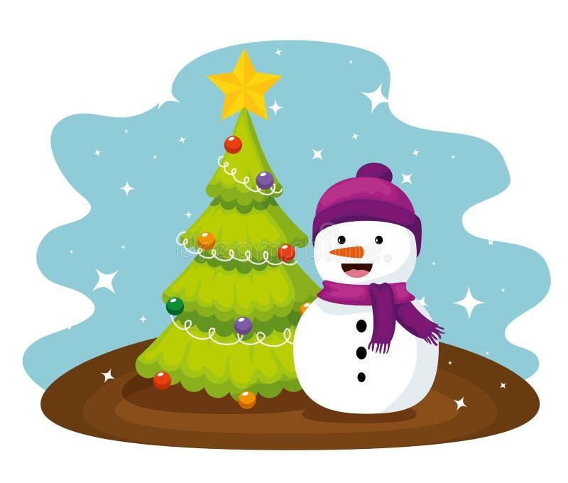 Сосна Chritsmas и шляпа снеговика нося иллюстрация штока