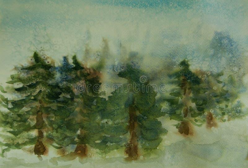 Сосновый лес на сезоне зимы с падением снега бесплатная иллюстрация