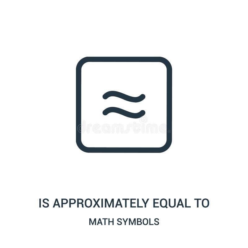 составляет около равное к вектору значка от собрания символов математики Тонкая линия составляет около равный для того чтобы конс иллюстрация вектора