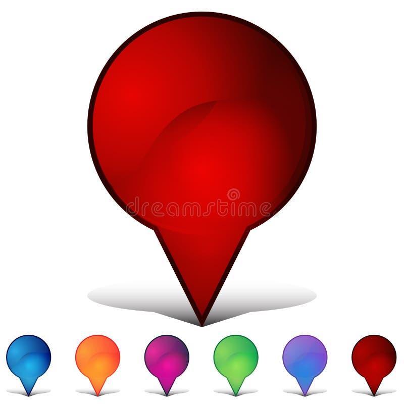 Составлять карту комплект кнопки кристалла мозаики Pin иллюстрация вектора