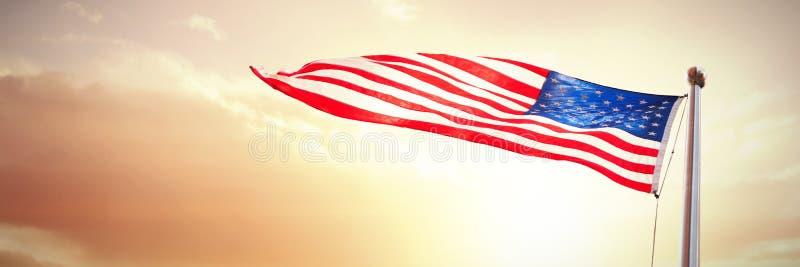 Составное изображение американского флага развевая над белой предпосылкой стоковое изображение rf