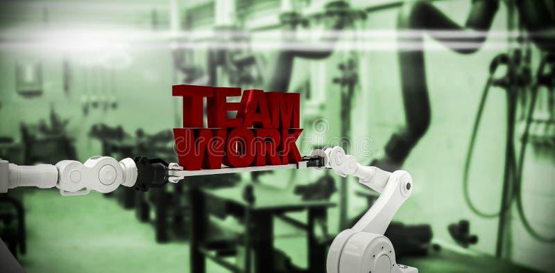 Составное изображение белой робототехнической руки держа текст работы команды против белой предпосылки иллюстрация штока