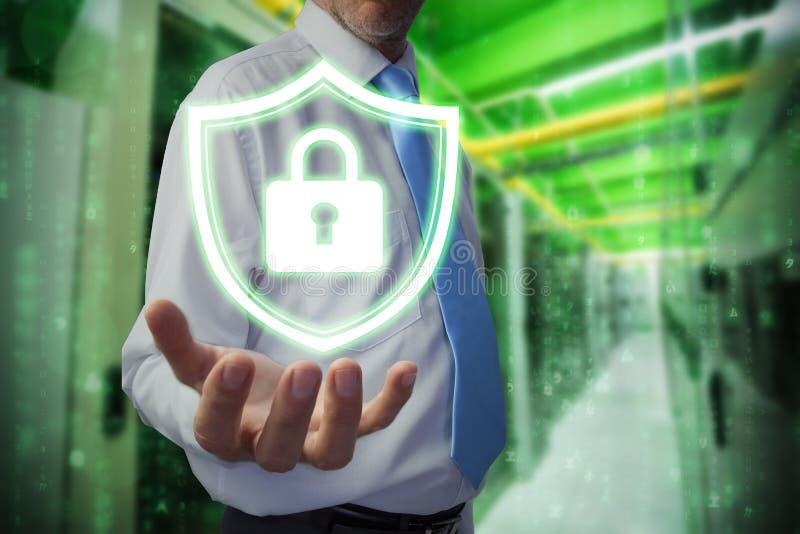 Составное изображение бизнесмена держа руку вне стоковые изображения rf