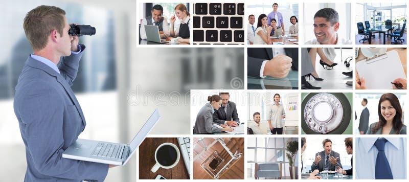 Составное изображение бизнесмена используя бинокли стоковые фотографии rf