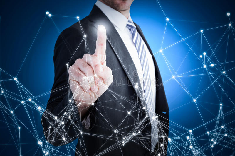 Составное изображение бизнесмена указывая с его пальцем стоковое фото