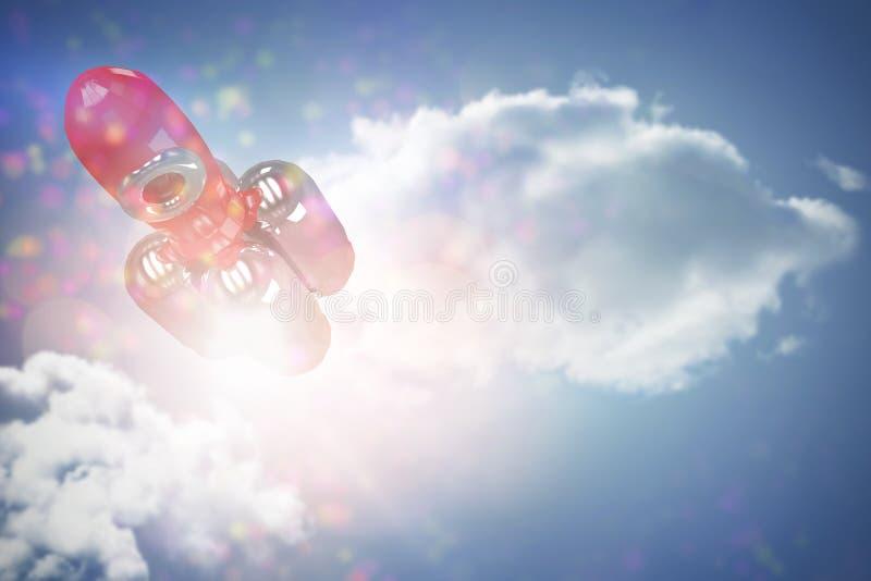 Составное изображение взгляда высокого угла красной ракеты стоковое фото rf