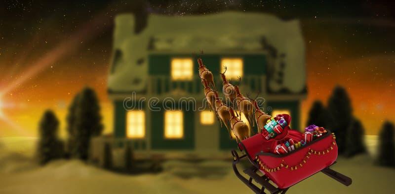 Составное изображение взгляда высокого угла северного оленя вытягивая красные сани с подарочной коробкой во время рождества иллюстрация вектора