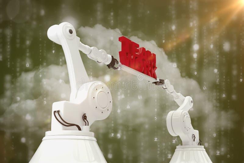 Составное изображение взгляда низкого угла белой робототехнической руки держа текст работы команды стоковая фотография rf