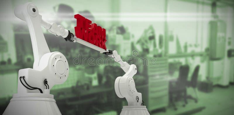 Составное изображение взгляда низкого угла белой робототехнической руки держа текст работы команды стоковое фото