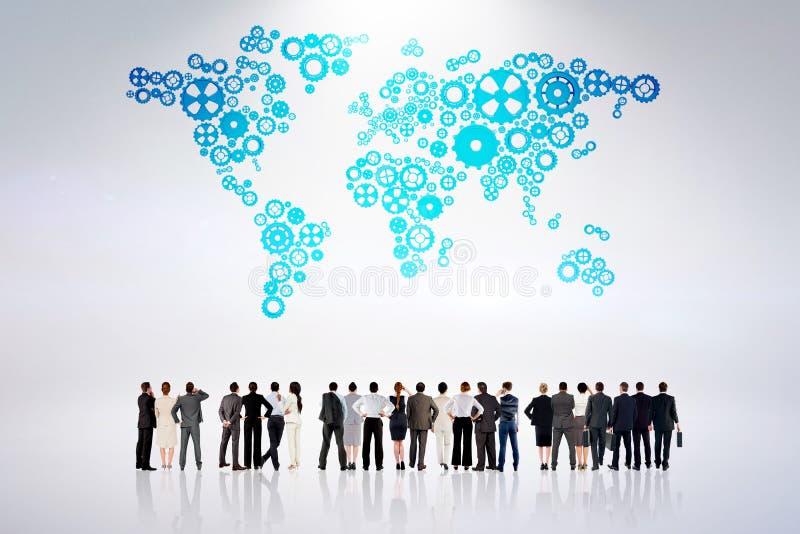 Составное изображение вид сзади многонациональных бизнесменов стоя бортовая - мимо - сторона стоковое изображение rf