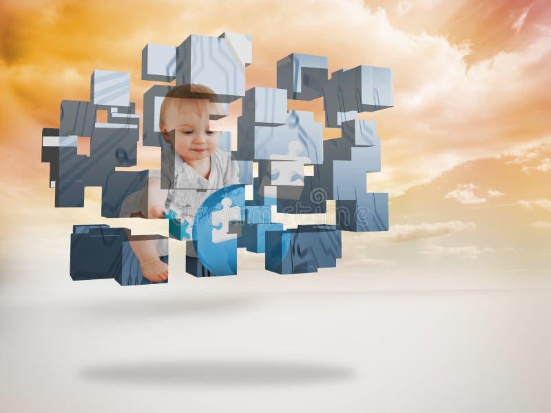 Составное изображение гения младенца на абстрактном экране стоковая фотография rf