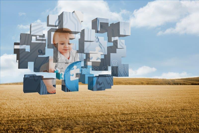 Составное изображение гения младенца на абстрактном экране стоковое фото