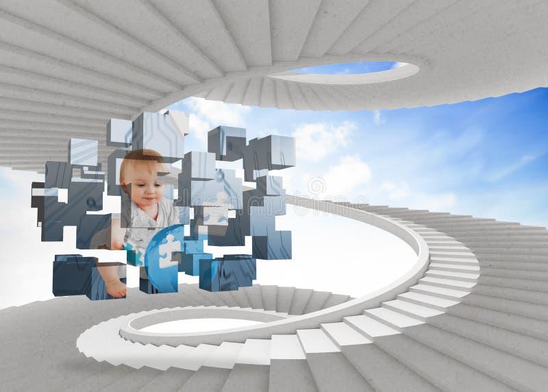 Составное изображение гения младенца на абстрактном экране стоковое изображение