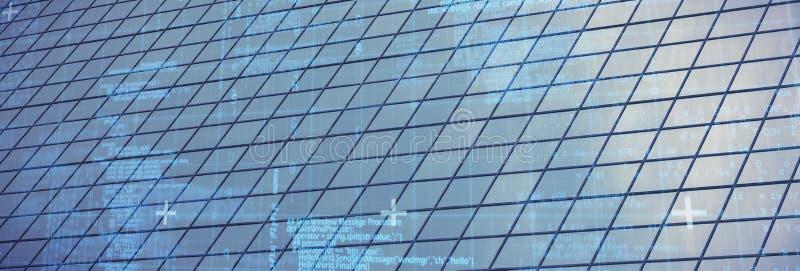 Составное изображение голубых матрицы и кодов стоковая фотография rf