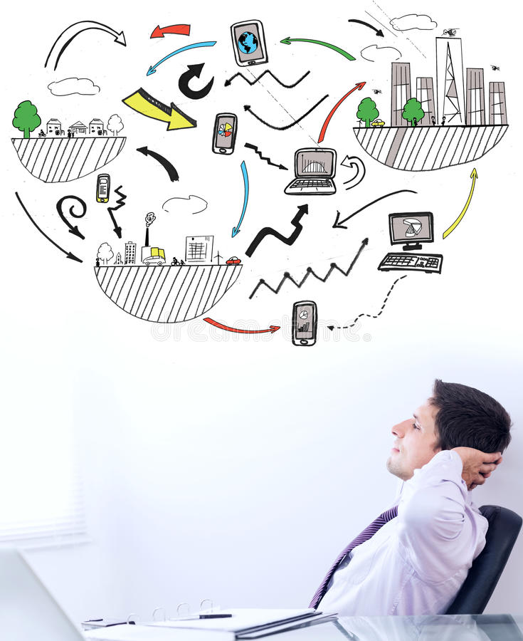 Составное изображение графика бредовой мысли стоковое изображение rf