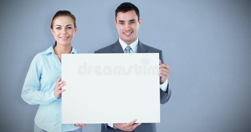 Составное изображение деловых партнеров представляя знак стоковые изображения rf