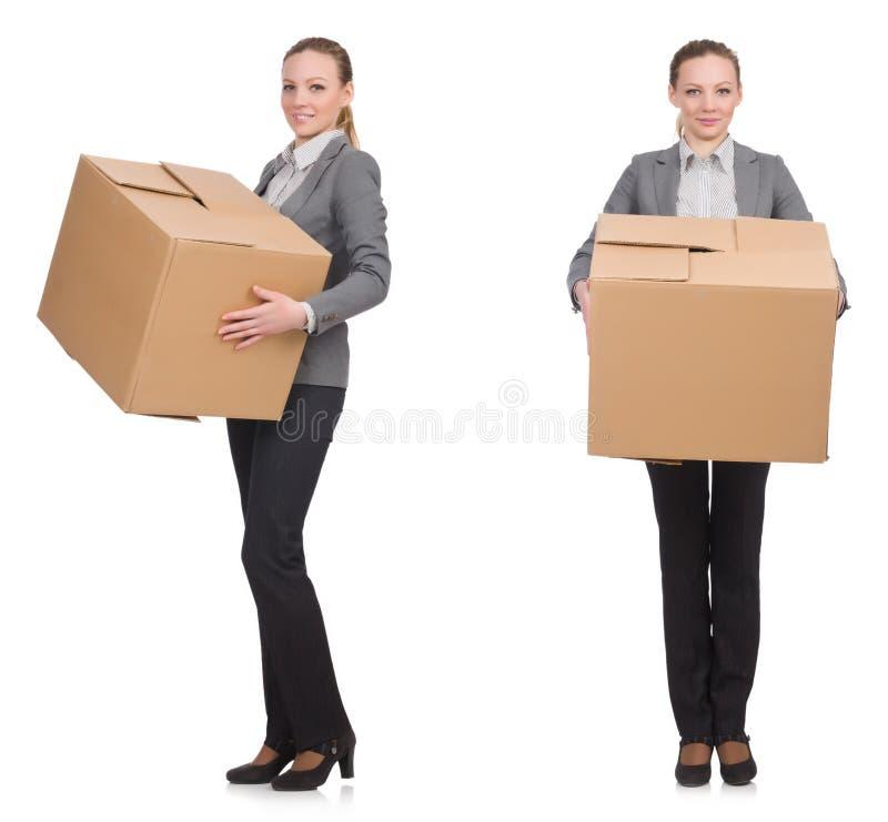 Составное изображение женщины с коробками на белизне стоковые изображения